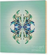 Symmetrical Orchid Art - Blues And Greens Wood Print
