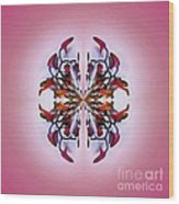 Symmetrical Orchid Art - Reds Wood Print