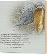 Sympathy Greeting Card - Poem And Milkweed Pods Wood Print