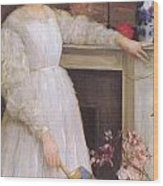 Symphony In White No 2 The Little White Girl Wood Print by James Abbott McNeill Whistler