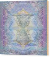 Synthecentered Doublestar Chalice In Blueaurayed Multivortexes On Tapestry Lg Wood Print
