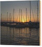 Syracuse Harbor Sunset Wood Print