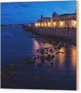 Syracuse Sicily Blue Hour - Ortygia Evening Mood Wood Print