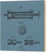 Syringe Patent Drawing Blue Wood Print