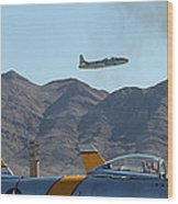 T-33 Shooting Star Flight Over Two Sabre's Wood Print