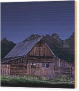 T. A. Moulton Homestead Barn At Night Wood Print