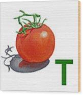 T Art Alphabet For Kids Room Wood Print by Irina Sztukowski