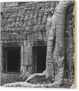 Ta Prohm Roots And Stone 02 Wood Print