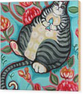 Tabby Cat On A Cushion Wood Print