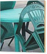 Table And Chairs. Wood Print