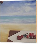 Table At The Beach Wood Print
