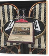 Table For Two In Paris Wood Print