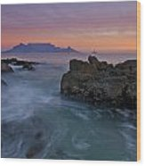 Table Mountain Sunset Wood Print by Aaron Bedell