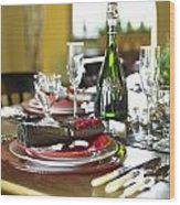 Table Setting With Red And White Wood Print