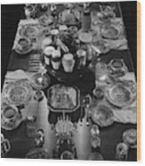 Table Settings On Dining Table Wood Print