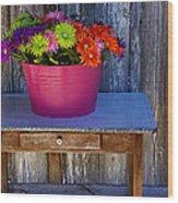 Table Top Flowers Wood Print