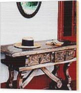 Table With Hat And Book Wood Print
