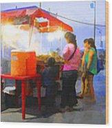 Taco Stand San Felipe Wood Print