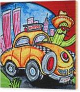 Taco Taxi Wood Print