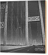 Tacoma Narrows Bridge B W Wood Print