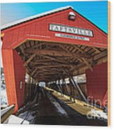 Taftsville Covered Bridge In Vermont In Winter Wood Print by Edward Fielding