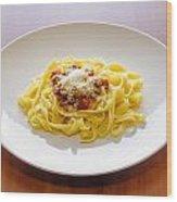 Tagliatelle Bolognese Sauce With Parmesan Wood Print