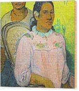 Tahitian Woman And Boy Wood Print