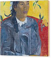 Tahitian Woman With A Flower Wood Print