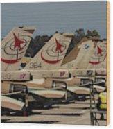 Tail Fins Of Israeli Air Force F-16`s Wood Print