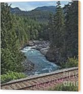 Train Tracks By The Cheakamus River Wood Print