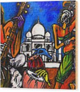 Taj Mahal Dancers Wood Print