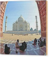 Taj Mahal In Fisheye Wood Print