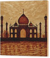 Taj Mahal Lovers Dream Original Coffee Painting Wood Print