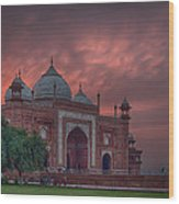 Taj Mahal Mosque At Sunset Wood Print