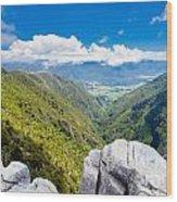 Takaka Hill Limestone Outcrops Takaka Valley In Nz Wood Print