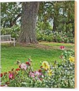 Take A Seat - Beautiful Rose Garden Of The Huntington Library. Wood Print