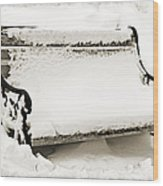 Take A Seat  And Chill Out - Park Bench - Winter - Snow Storm Bw 2 Wood Print