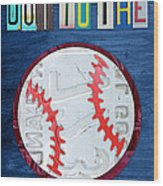 Take Me Out To The Ballgame License Plate Art Lettering Vintage Recycled Sign Wood Print