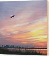 Take Off At Sunset In 1984 Wood Print