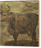 Take The Cow By The Horns Wood Print