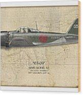 Takeo Tanimizu A6m Zero - Map Background Wood Print