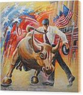 Taking On The Wall Street Bull Wood Print