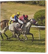 Taking Over - Del Mar Horse Race Wood Print