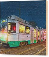 Taking The T At Night In Boston Wood Print by Mark E Tisdale