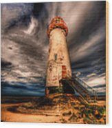 Talacre Lighthouse Wood Print by Adrian Evans