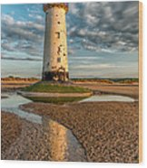 Talacre Lighthouse Sunset Wood Print