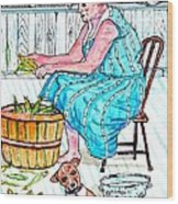 Talking To The Dog - Sitting On The Front Porch Wood Print by Philip Bracco