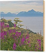 Tall Fireweed And Cow Parsnip Over Cook Inlet Near Homer- Ak Wood Print