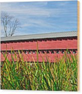 Tall Grass And Sachs Covered Bridge Wood Print