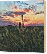 Tall Grass Windmill Wood Print